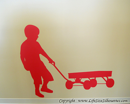 Picture of Boy Pulling Wagon 17 (Children Silhouette Decals)